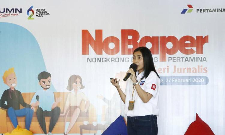 Manager Media Communication PT Pertamina (Persero), Heppy Wulansari saat memberikan keterangan kepada wartawan di Semarang. - Bisnis/Alif Nazzala Rizqi