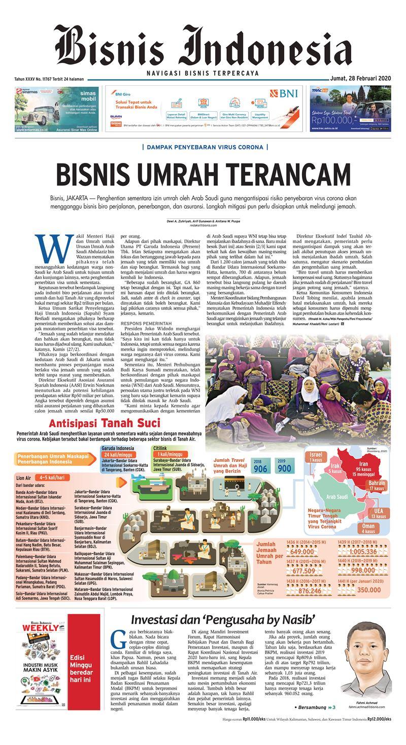 Bisnis Indonesia edisi 28 Februari 2020