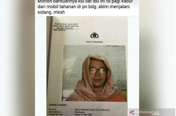 Tangkapan layar tahanan wanita yang kabur di Bandung. - Antara
