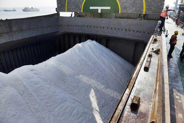 Suasana bongkar muat garam impor dari Kapal MV Golden Kiku ke truk pengangkut di Pelabuhan Tanjung Perak, Surabaya, Jawa Timur, Sabtu (12/8). - ANTARA/Zabur Karuru