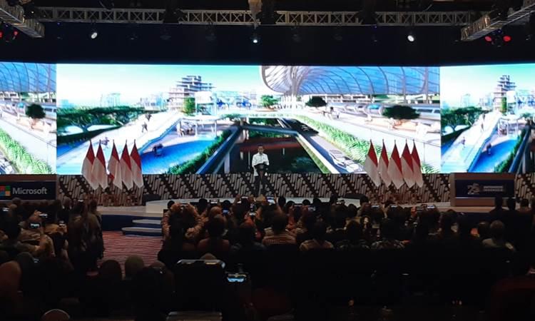 Presiden Joko Widodo saat menyampaikan pidato dalam acara Digital Economy Summit 2020, di Jakarta, Kamis (27/2/2020). - Bisnis/Muhammad Khadafi
