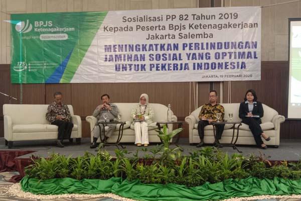Pada acara sosialisasi PP 82 Tahun 2019 kepada peserta BPJS Ketenagakerjaan Wilayah Jakarta Salemba, mengangkat tema