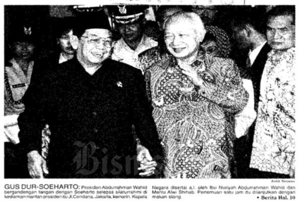 Gus Dur berkunjung ke kediaman Soeharto di Jl Cendana No. 10, Menteng, Jakarta Pusat, pada Rabu (8/3 - 2000). Pertemuan tersebut sarat nilai sejarah. Selain karena keduanya merupakan orang penting negeri ini, pertemuan tersebut didahului penolakan Soeharto kepada Panja BLBI DPR dan Kejagung.