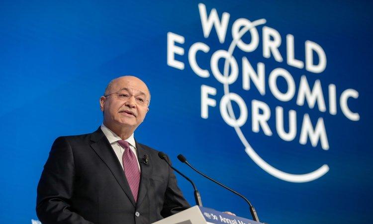 Presiden Irak Barham Salih berpidato dalam World Economic Forum di Davos, 22 Januari 2020 -  Bloomberg