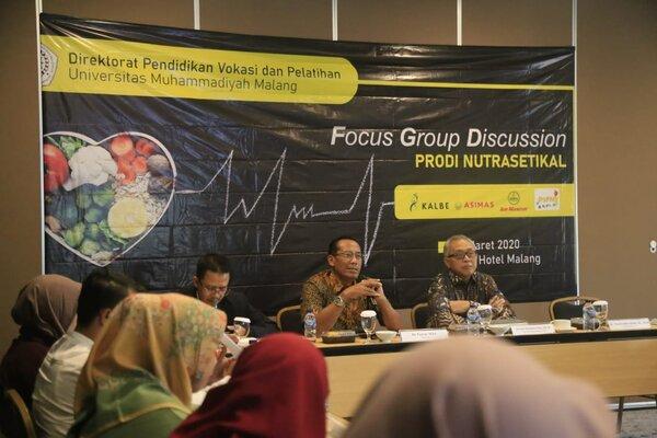 Rektor UMM Fauzan (tengah) pada FGD Pendirian Prodi Nutrasetikal di Malang akhir pekan lalu. - Istimewa