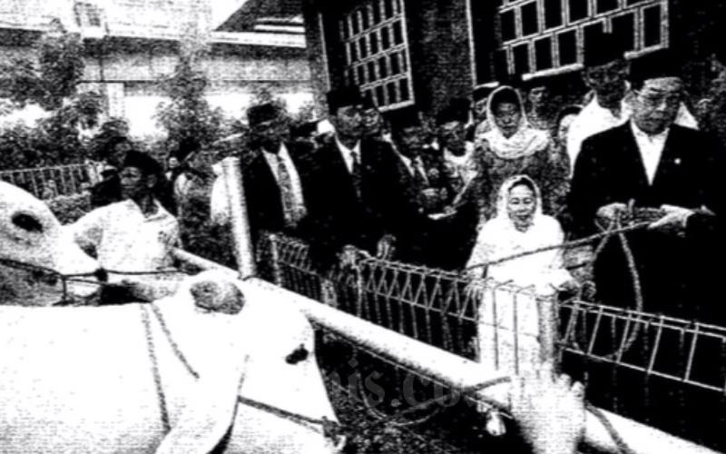 Presiden bersama Ibu Negara Nuriyah Abdurrahaman Wahid menyarahkan sapi kurban kepada Menteri Agama ad entrim Menko Kesra, Basri Hasanuddin, pada Kamis (16/3 - 2000). Bisnis Indonesia.