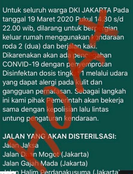 Beredar kabar bohong dilakukan disinfektan di sejumlah jalan di DKI Jakarta - Twitter@aw3126