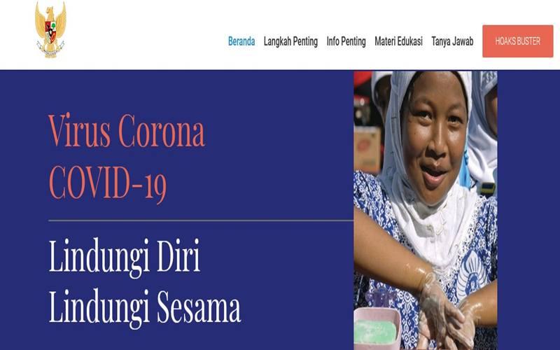 Tampilan portal www.covid19.go.id yang diluncurkan Gugus Tugas Percepatan Penanganan Covid/19.