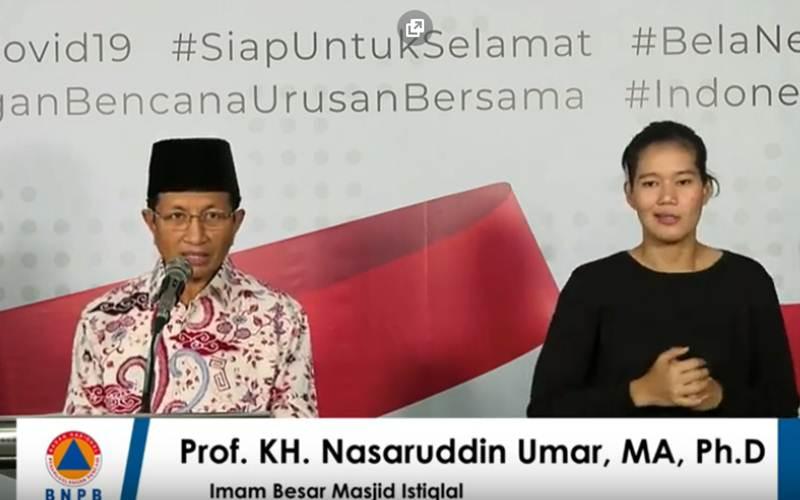 Imam Besar Masjid Istiqlal Prof. KH. Nasaruddin Umar menyampaikan alasan objekstif dan subjektif terkait penghentian sementara aktivitas salat berjemaah di Masjid Istiqlal.