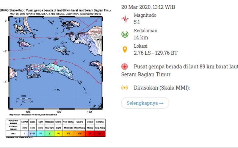 Peta Gempa Pulau Seram - BMKG