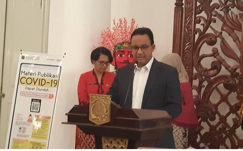 Gubernur DKI Jakarta Anies Baswedan menyampaikan situasi virus corona di DKI Jakarta, Jumat (13/3/2020). JIBI - Bisnis/Aziz Rahardyan