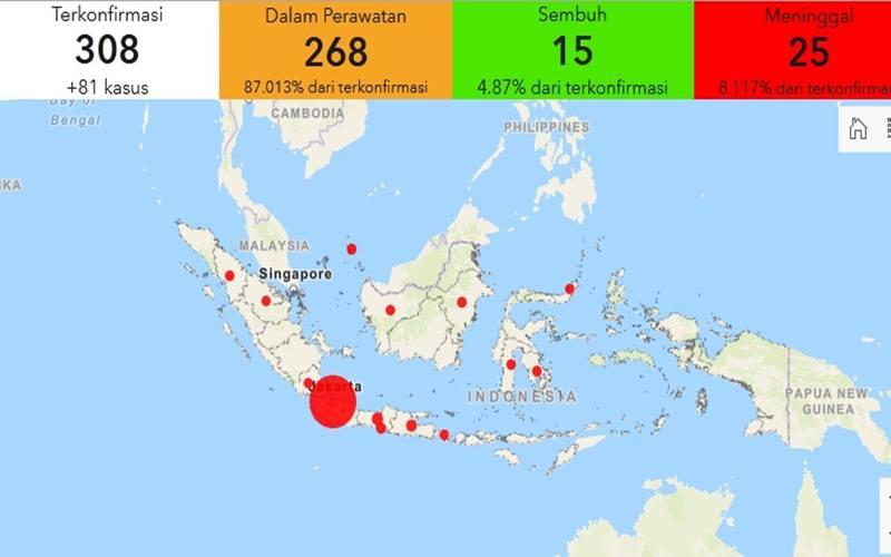 Tangkapan layar Gugus Tugas Percepatan Penanganan Covid-19 membuat peta interaktif yang menampilkan data persebaran virus corona secara nasional di Indonesia. JIBI - Bisnis/Nancy Junita