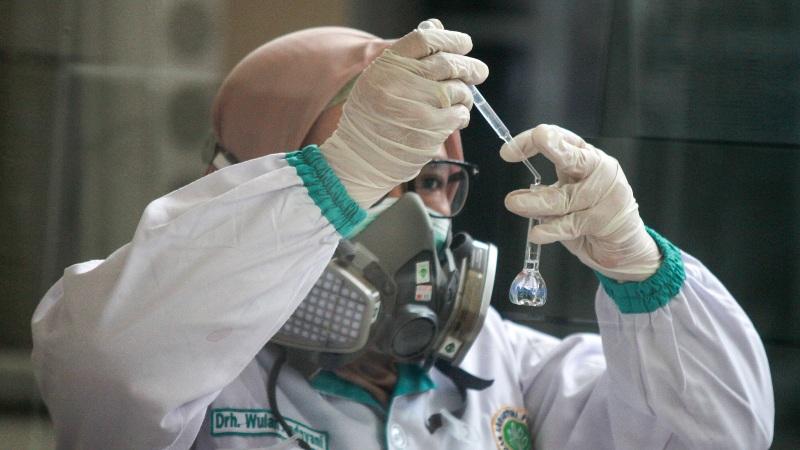 Dokter patologi klinik memeriksa sampel media pembawa virus Corona untuk penelitian di Laboratorium Balai Besar Karantina Pertanian Surabaya di Juanda, Sidoarjo, Jawa Timur, Kamis (6/2/2020). - Antara/Umarul Faruq