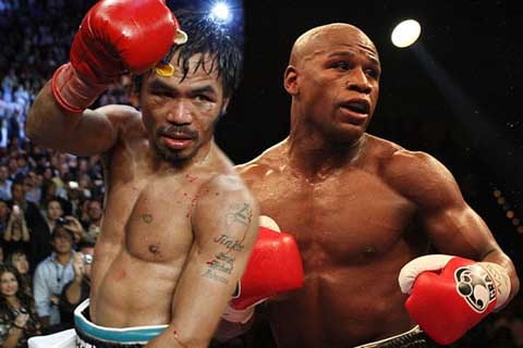 Manny Pacquiao (kiri) saat berlaga menghadapi Floyd Mayweather - Boxing News Online