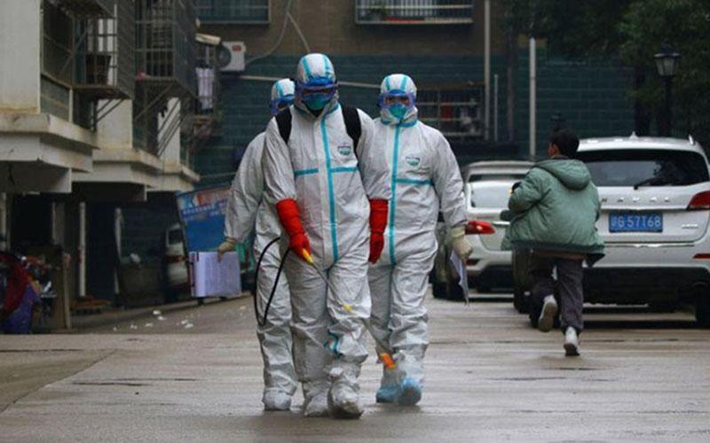 Ilustrasi proses disinfektan untuk membunuh virus corona. - Reuters