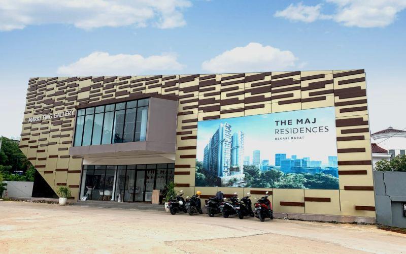 Kantor pemasaran apartemen The MAJ Residences Bekasi. Apartemen tersebut akan dilakukan dalam dua tahap. Tahap pertama mencakup 1.688 unit dan tahap kedua dibangun 1.584 unit. - Bisnis