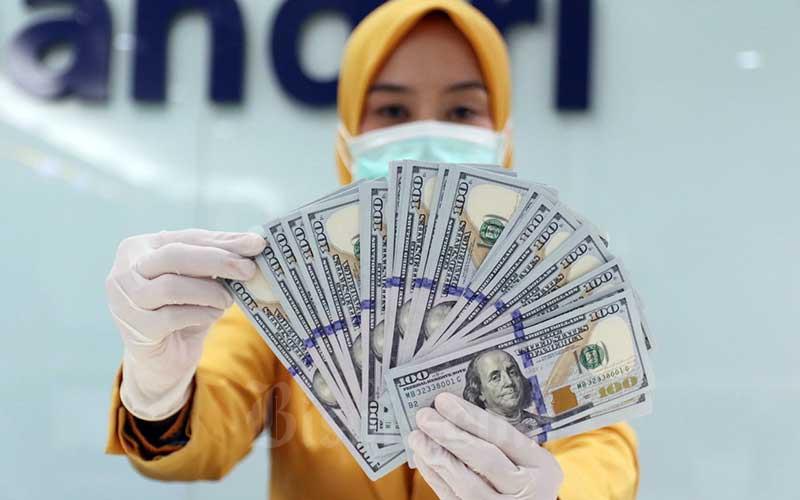Karyawan menunjukan uang dolar Amerika Serikat (AS) di Kantor Cabang Plaza Mandiri, Jakarta, Senin (23/3/2020). Bisnis - Eusebio Chrysnamurti