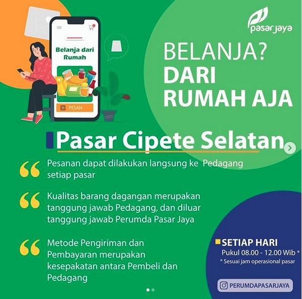 Perumda Pasar Jaya menelurkan langkah belanja alternatif di tengah pandemi Virus Corona (Covid-19), agar warga tak perlu keluar rumah untuk memenuhi kebutuhan bahan pangannya. - Instagram@perumdapasarjaya