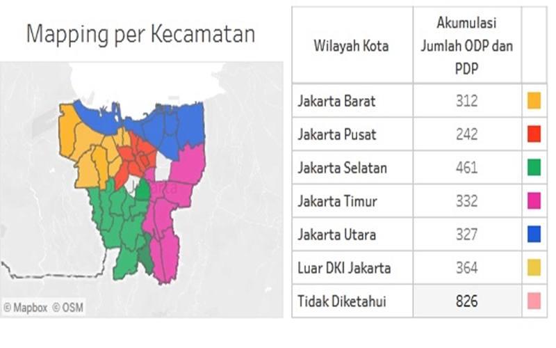Peta kasus Covid-19di DKI Jakarta - www.corona.jakarta.go.id