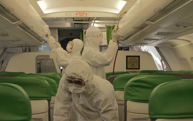 Citilink Indonesia melakukan kegiatan disinfeksi pesawat untuk mencegah penyebaran virus Corona (Covid-19). - Dok. Istimewa