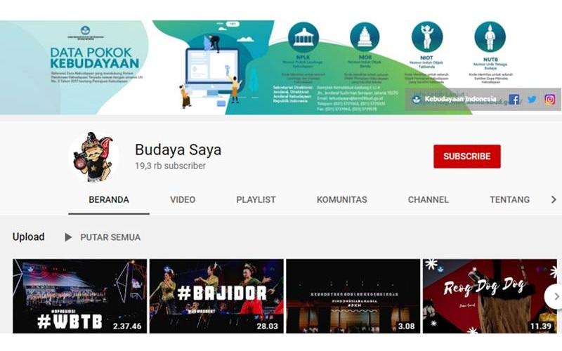 Tampilan di akun youtube budayasaya Ditjen Kebudayaan Kemendikbud