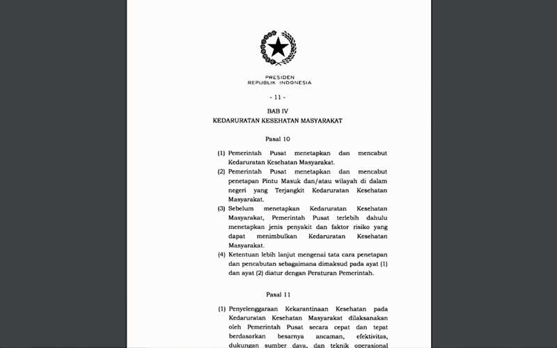 ilustrasi / Salinan surat Istana tentang Kekarantinaan Kesehatan.