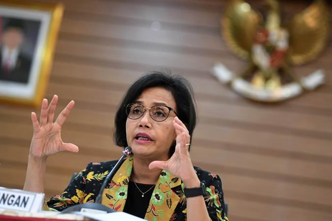 Menteri Keuangan Sri Mulyani memberikan keterangan terkait realisasi Anggaran Pendapatan dan Belanja Negara (APBN) 2019 di Kementerian Keuangan, Jakarta, Selasa (19/3/2019). - ANTARA/Wahyu Putro A