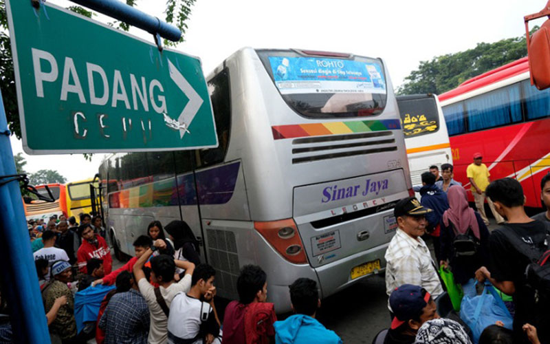 Bus Sinar Jaya di Terminal Kalideres. - Antara/Rivan Awal Lingga