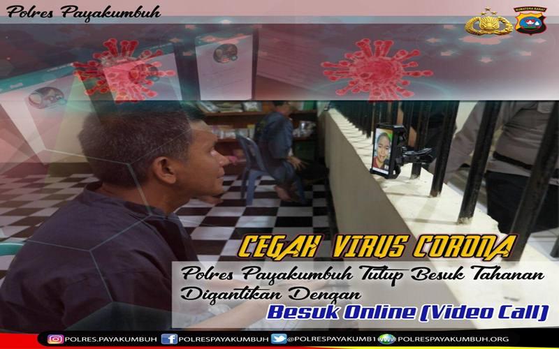 Mapolres Payakumbuh Sumatra Barat meniadakan jam besuk tahanan dan menggantinya dengan besuk tahanan secara online untuk mencegah penyebaran virus corona SARS-CoV-2. - Istimewa