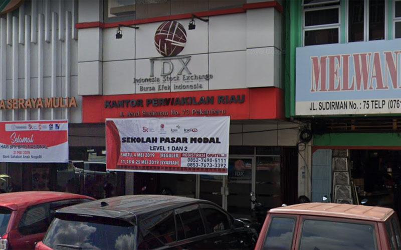 Kantor Perwakilan Bursa Efek Indonesia (BEI) Riau di Jl. Jenderal Sudirman No.73, Rintis, Kec. Lima Puluh, Kota Pekanbaru. Foto: Google Maps, Mei 2019