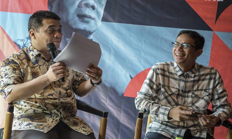 nCalon Wakil Gubernur (Cawagub) DKI Jakarta dari Partai Gerindra, Ahmad Riza Patria (kiri) dan Cawagub DKI Jakarta dari PKS, Nurmansjah Lubis (kanan) menjadi pembicara dalam acara