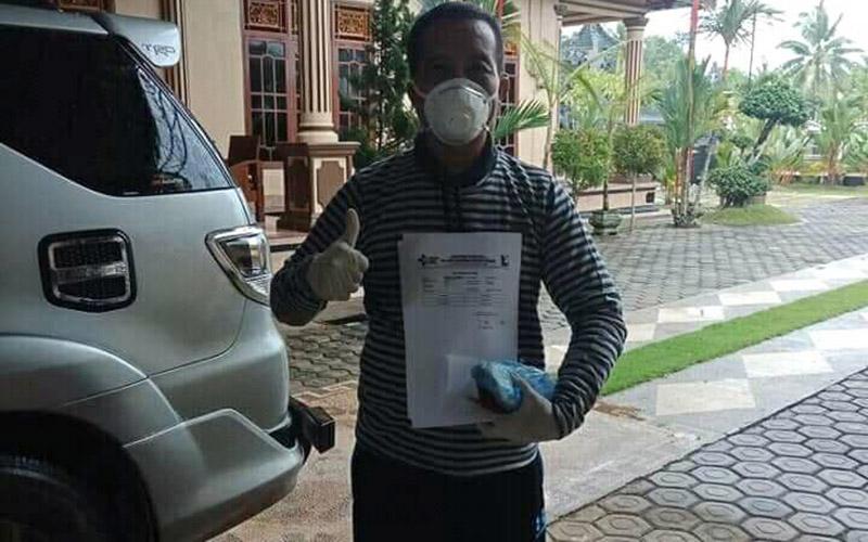 NW, warga Kabupaten Ogan Komering Ilir (OKI) Sumsel, dinyatakan sembuh dari virus corona setelah swab test menunjukkan hasil negatif. istimewa