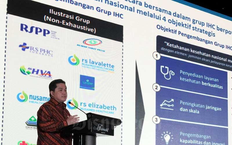 Menteri BUMN Erick Thohir memberikan sambutan dalam acara 1st Indonesia Healthcare Corporation Medical Forum di Jakarta, Senin (10/2/2020). Bisnis - Arief Hermawan P