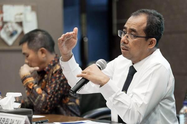 Direktur Jenderal Bea dan Cukai Heru Pambudi memberikan paparan dalam konferensi pers terkait ketentuan impor barang kiriman di Jakarta, Senin (17/9/2018). - JIBI/Felix Jody Kinarwan