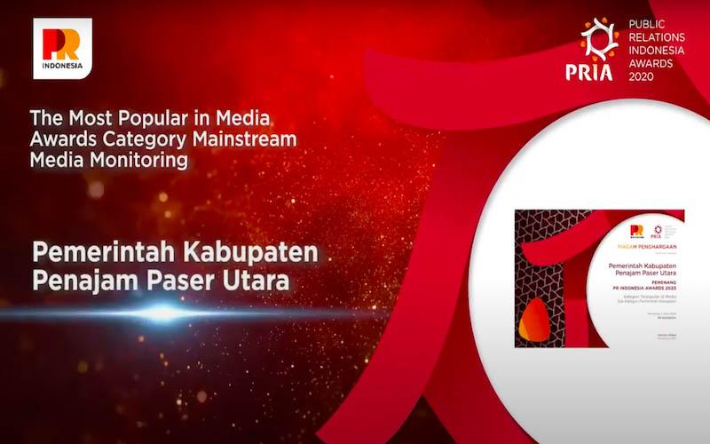 Pemerintah Kabupaten Penajam Paser Utara mendapatkan penghargaan dalamPublic Relations Indonesia Award (PRIA) 2020. - JIBI/Istimewa