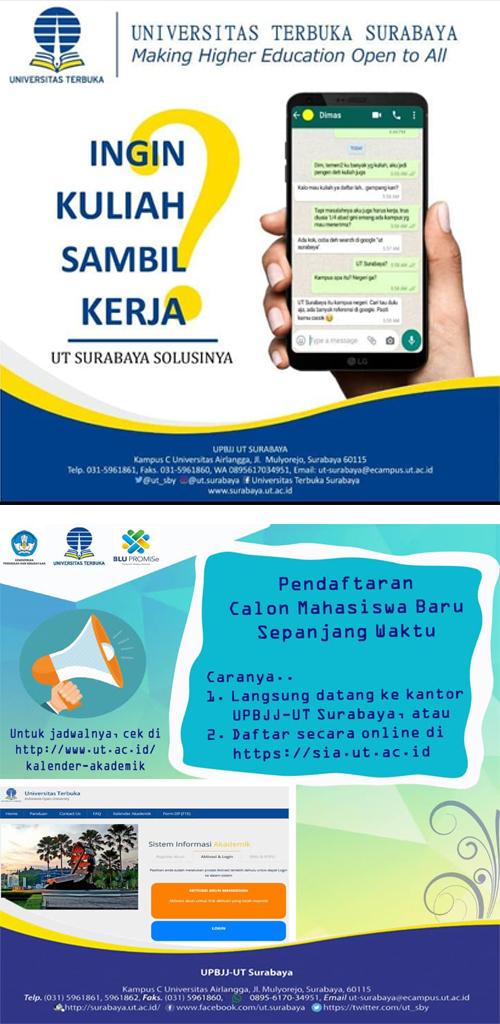 Sistem Pembelajaran Online (E/learning) Universitas Terbuka Surabaya.