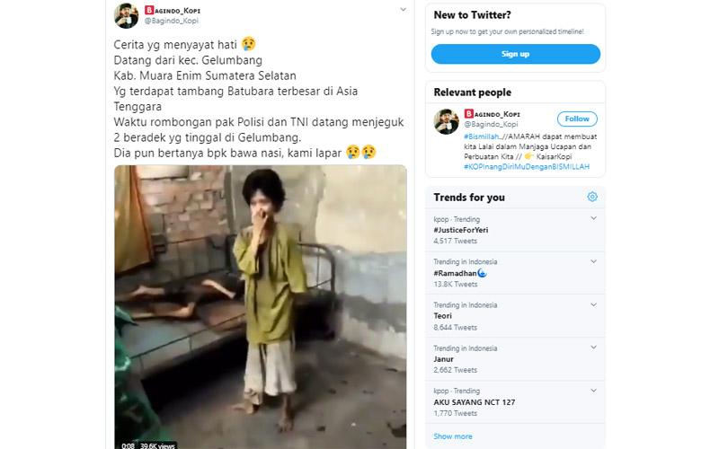 Nasib warga miskin Kecamatan Gelumbang Kabupaten Muara Enim Sumatra Selatan