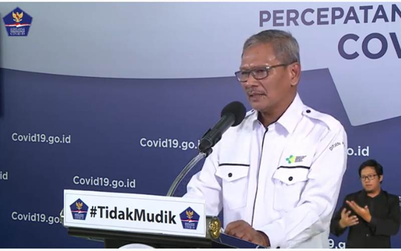 Juru Bicara Pemerintah untuk Penanganan Covid-19 Achmad Yurianto saat memberikan keterangan melalui video conference dari Graha BNPB, Kamis (23/4/2020). - Youtube/BNPB