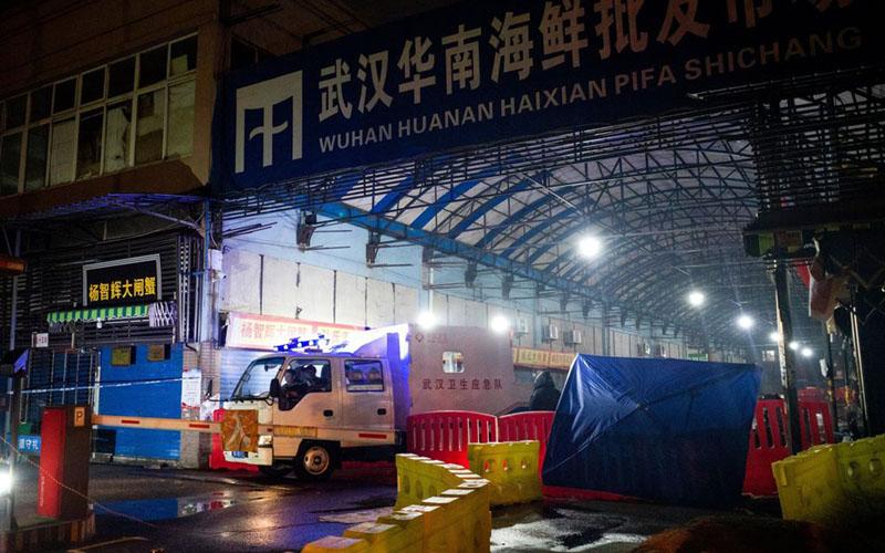 Pasar seafood Huanan di Wuhan, China. - Bloomberg