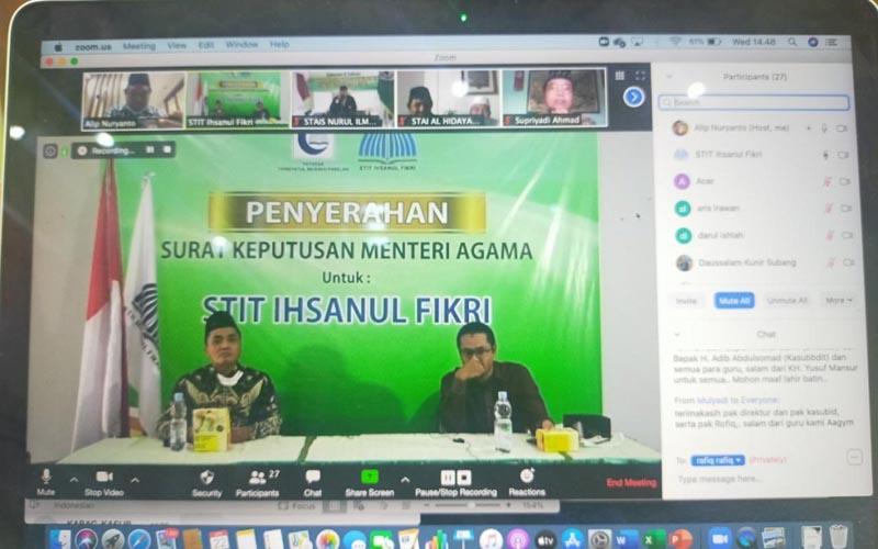 Penyerahan Keputusan Menteri Agama (KMA) mengenai izin kepada 17 perguruan tinggi keagamaan Islam (PTKI) swasta dilakukanj secara online. - Kemenag