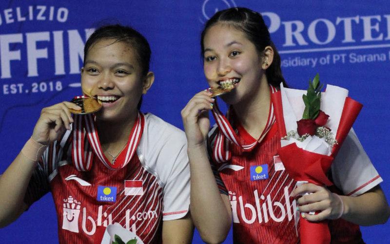Siti Fadilah-Ribka Sugiarto saat menjuarai Indonesia Masters 2019 - Badminton Indonesia