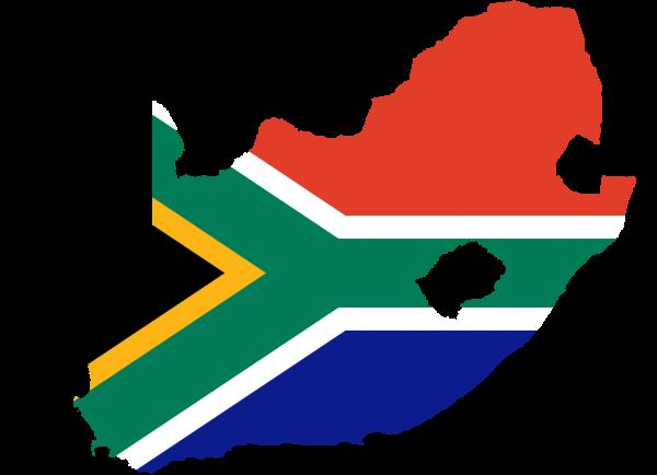 Ilsutrasi wilayah dan bendera Afrika Selatan.