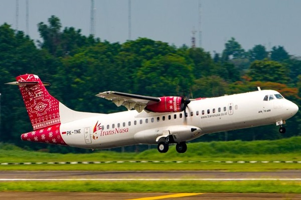 Ilustrasi - Pesawat ATR milik TransNusa. - Bisnis/Istimewa