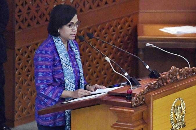 Menteri Keuangan Sri Mulyani menyampaikan Kerangka Ekonomi Makro (KEM) dan Pokok-Pokok Kebijakan Fiskal (PPKF) Rancangan Anggaran Pendapatan dan Belanja Negara Tahun Anggaran 2020 dalam Sidang Paripurna DPR di Jakarta, Senin (20/5/19). - ANTARA/Puspa Perwitasari