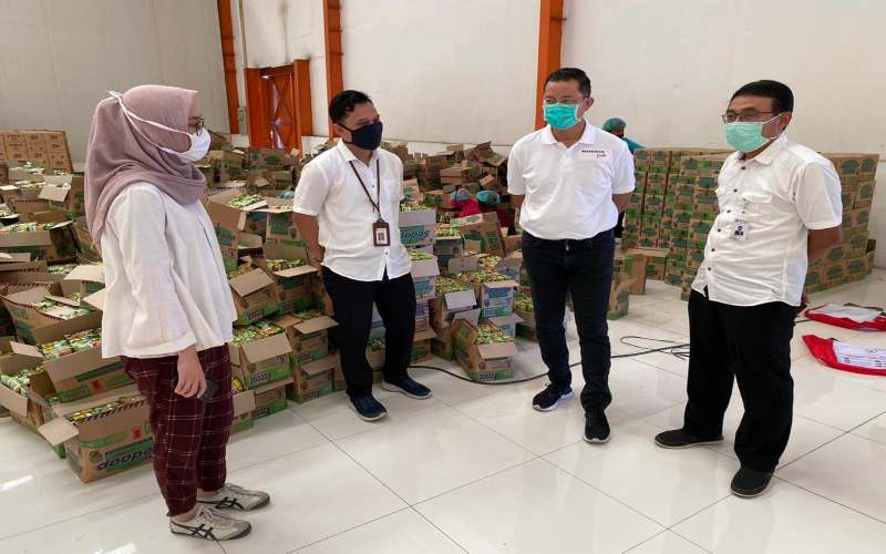 Menteri Sosial Juliari Batubara dan Direktur Utama PT Pertani Maryono. - Istimewa