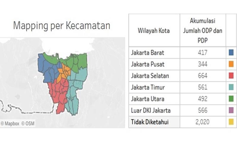 Sebaran kasus Covid-19 di Jakarta - Istimewa