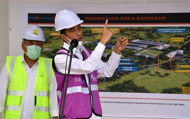 Presiden Joko Widodo (kanan) didampingi Menteri PUPR Basuki Hadimuljono memberikan keterangan pers saat meninjau Rumah Sakit Darurat Penanganan COVID-19 di Pulau Galang, Batam, Kepulauan Riau, Rabu (1/4/2020). Kunjungan kerja tersebut untuk memastikan kesiapan rumah sakit yang akan mulai beroperasi pada Senin 6 April 2020 mendatang. ANTARA FOTO - Sigid Kurniawan