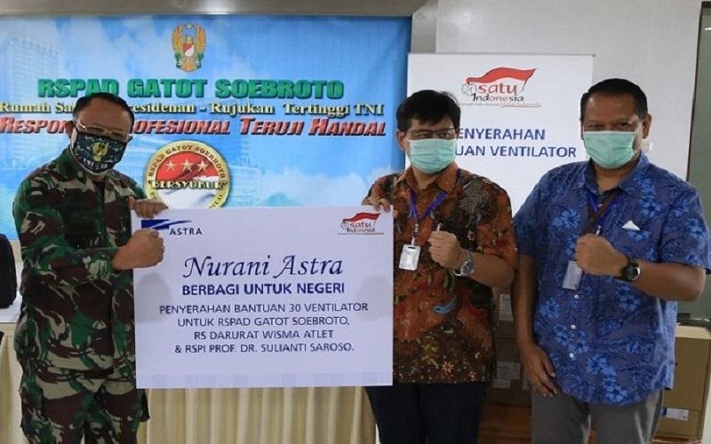 Manajemen Astra menyerahkan bantuan tahap ketiga berupa 30 ventilator senilai Rp13 miliar ke tiga rumah sakit untuk membantu penanganan pandemi Covid-19, Senin (27/4/2020).  - Istimewa