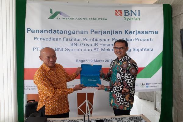 PT Bank BNI Syariah bekerjasama dengan pengembang properti PT Mekar Agung Sejahtera atau Masgroup terkait dengan fasilitas pembiayaan kepemilikan rumah proyek Bali Resort di Bogor, Jawa Barat. - Istimewa