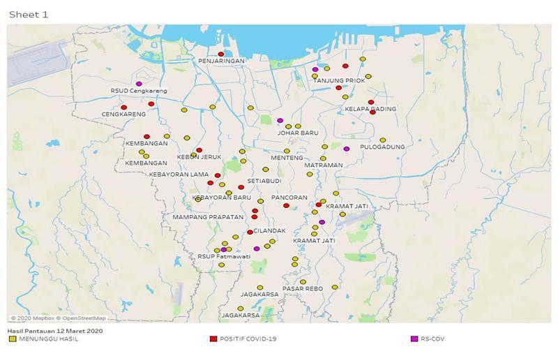 Peta sebaran kasus virus corona Covid-19 di DKI Jakarta. JIBI/Bisnis - Aziz Rahardyan